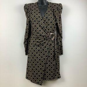NWT Rinascimento Printed Long Sleeve Faux Wrap Dress in Black Multi